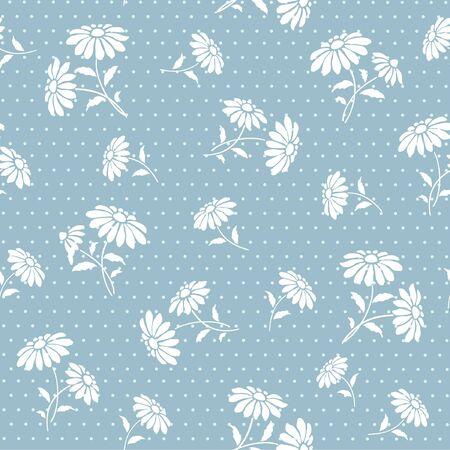 Seamless blue abstract floral background Ilustração