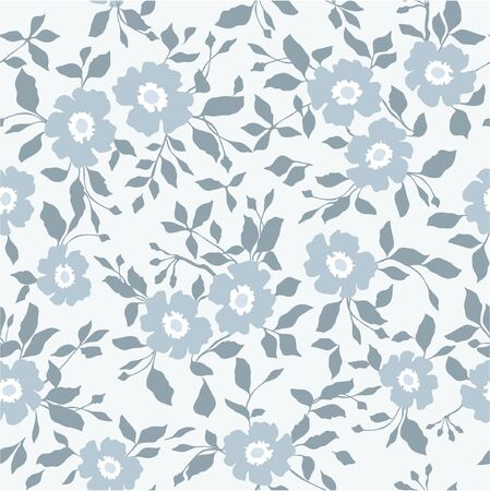 Seamless blue floral  background Imagens - 140357856