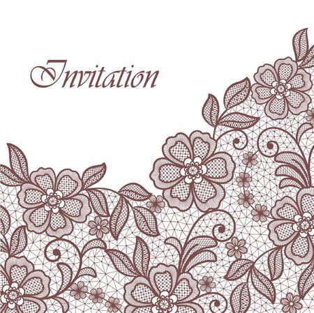 lace flowers invitation card Ilustração