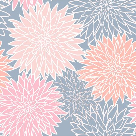 Seamless abstract blue and pink floral background