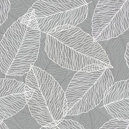seamless abstract greyl background with white leves