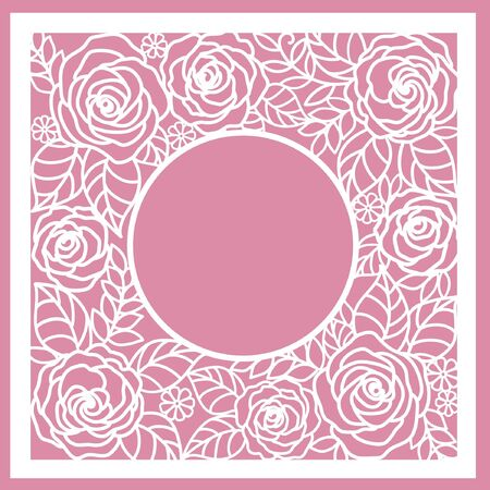 greeting floral card with roses. (laser cute)