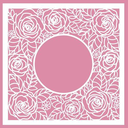greeting floral card with roses. (laser cute) Ilustração