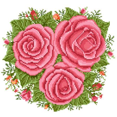 Bouquet of the pink roses, embroider Ilustração