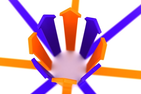 multidirectional: blue and orange arrow on a white background