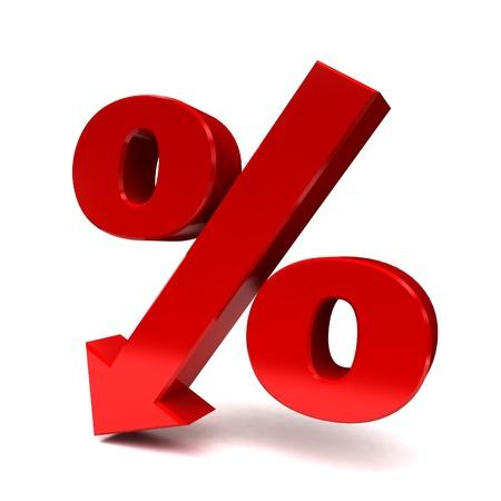red percent sign denoting a decrease