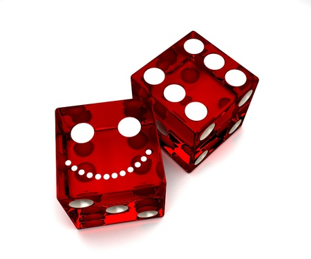 two objects: Two red smiling dice