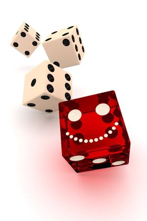 two smiling red dice on white background photo