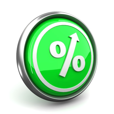 The green sign on percent designating increase photo