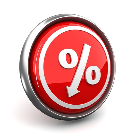 red percent sign icon denoting a decrease Stock Photo - 10468380