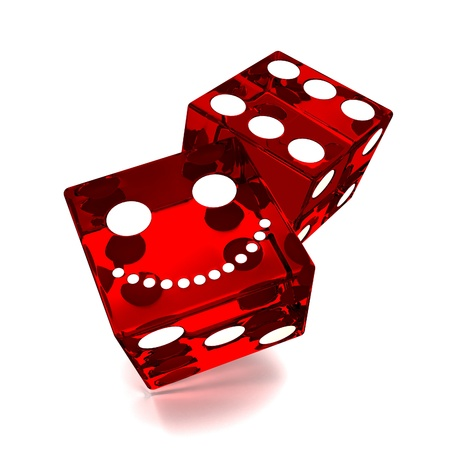 rolling: red dice on white background Stock Photo
