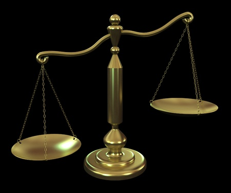 balanza justicia: balance de bronce sobre un fondo negro