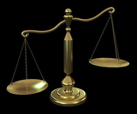 balance de la justice: l'�quilibre de bronze sur un fond noir