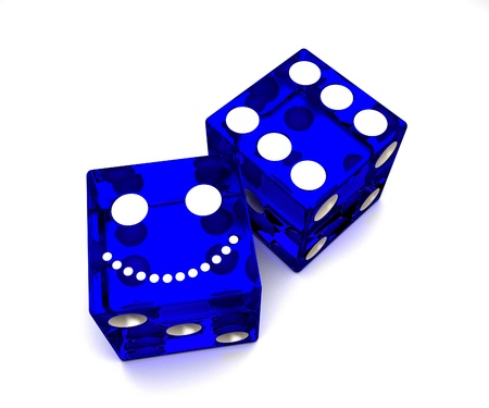 risking: blue dice on black background
