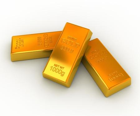 金: 白い背景の上の金の延べ棒 写真素材