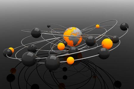 chemic: Sfondo con sfere astratte e la Terra Archivio Fotografico