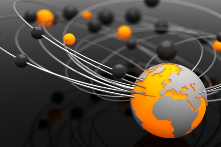chemic: Background with abstract spheres and the Earth Stock Photo