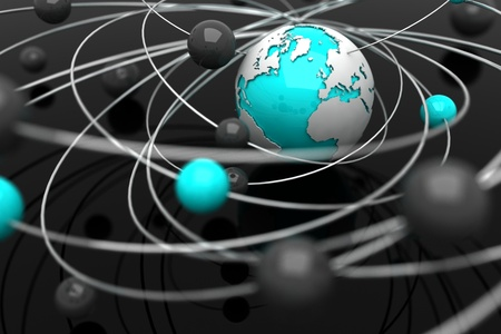 electrons: Background with abstract spheres and the Earth Stock Photo