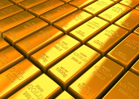 A lot of Gold Bars on the floor. photo