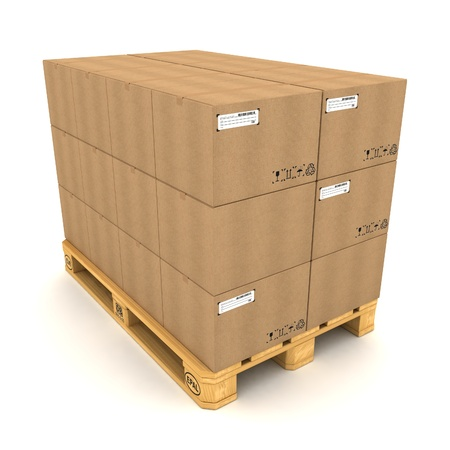 Cardboard boxes on pallet on white background photo