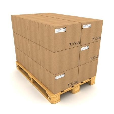 Les boîtes en carton sur palette sur fond blanc Banque d'images