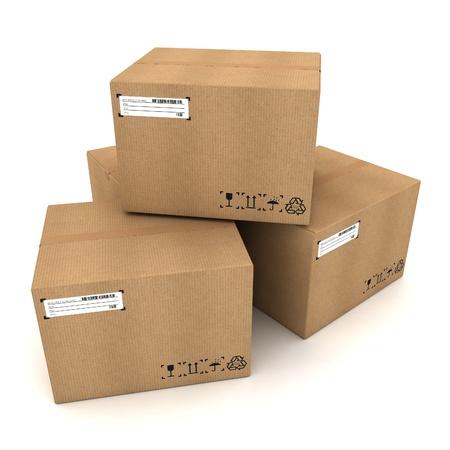 cajas de carton: Cajas de cartón en el fondo blanco Foto de archivo