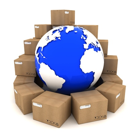 Cardboard boxes around Earth on white background photo