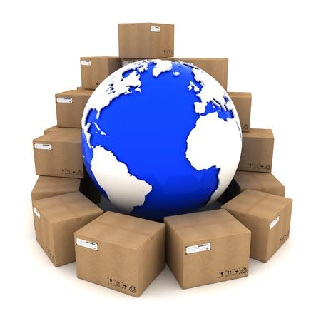 Les boîtes en carton autour de la Terre sur fond blanc