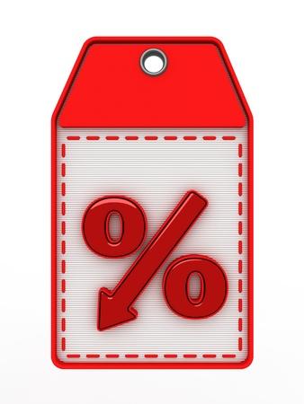 denoting: red percent sign denoting a decrease