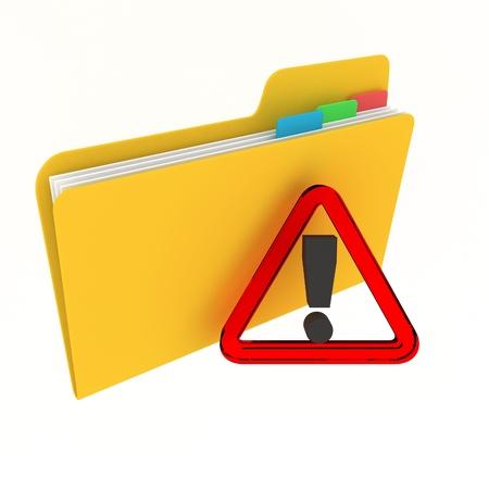 File archive concept: attention files folder photo