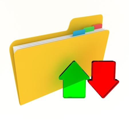 arquivos: File archive concept: download and upload files folder Banco de Imagens