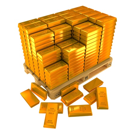 gold ingot: A lot of Gold Bars on the pallet.