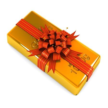 lingote de oro: Barra de oro como regalo en el fondo blanco Foto de archivo