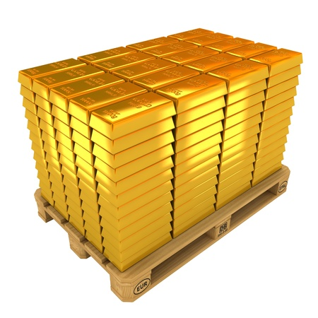 gold bullion: A lot of Gold Bars on the pallet.