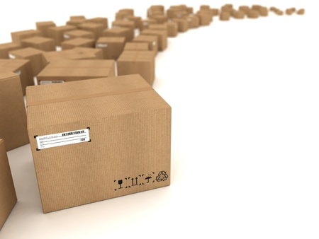 packing boxes: Cardboard boxes on white background
