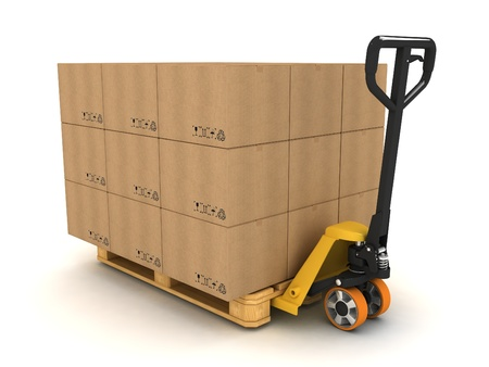 pallets: Pallet truck stacked with pallet and boxes