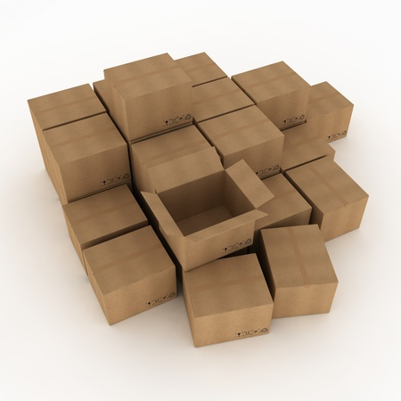 Opened cardboard box and some clossed boxes Stock Photo - 11295872