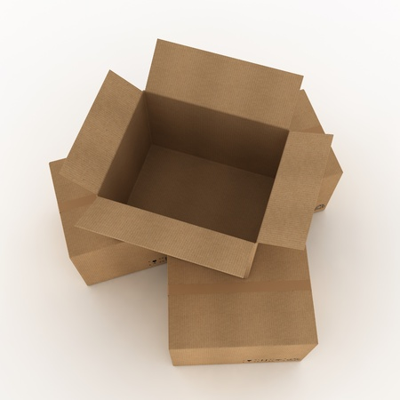 distribution box: Opened cardboard box and some clossed boxes