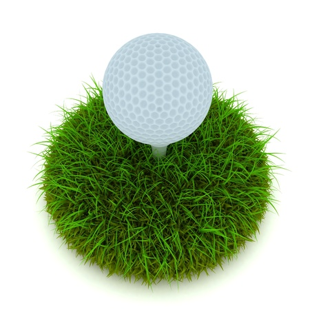Golf ball on tee on golf green course photo