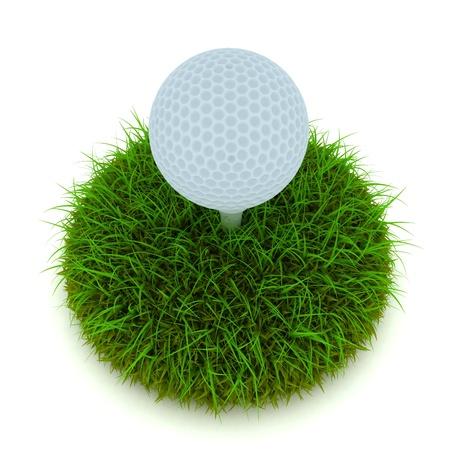 spacing: Golf ball on tee on golf green course Stock Photo