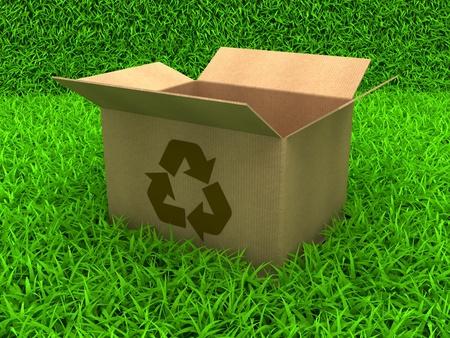 3D Illustration Opened cardboard box on Green Grass Stock Illustration - 11507078
