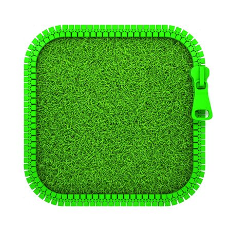 unbuttoned: 3D Illustration Green Zipper with Grass on White Background.