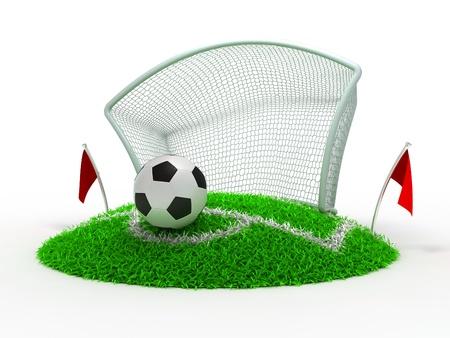 흰색 배경에 게이트에서 3D 컨셉 축구