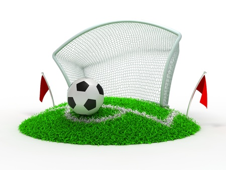 3D Concept Football in Gate on White Background photo
