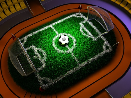 3D Concept Soccer Stadium in Dramatic Lights photo