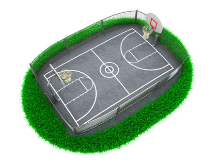 3D Concept Basketball Arena on White Background photo