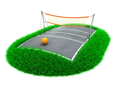 3D Concept Volleyball Arena on White Background photo