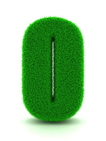 numerics: 3d Rendering of Grass Number 0 on White Isolated Background.