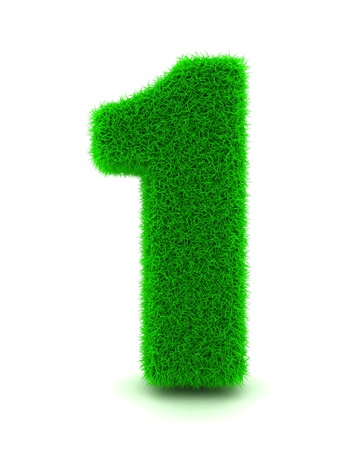 number icon: 3d Rendering of Grass Number 1 on White Isolated Background.