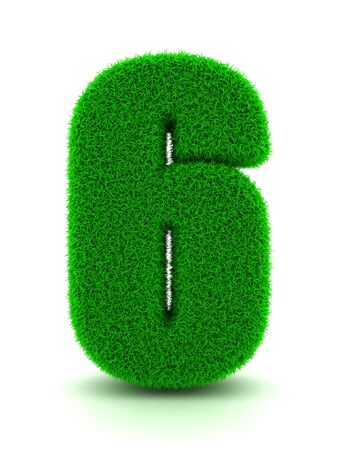 3d Rendering of Grass Number 6 on White Isolated Background. photo